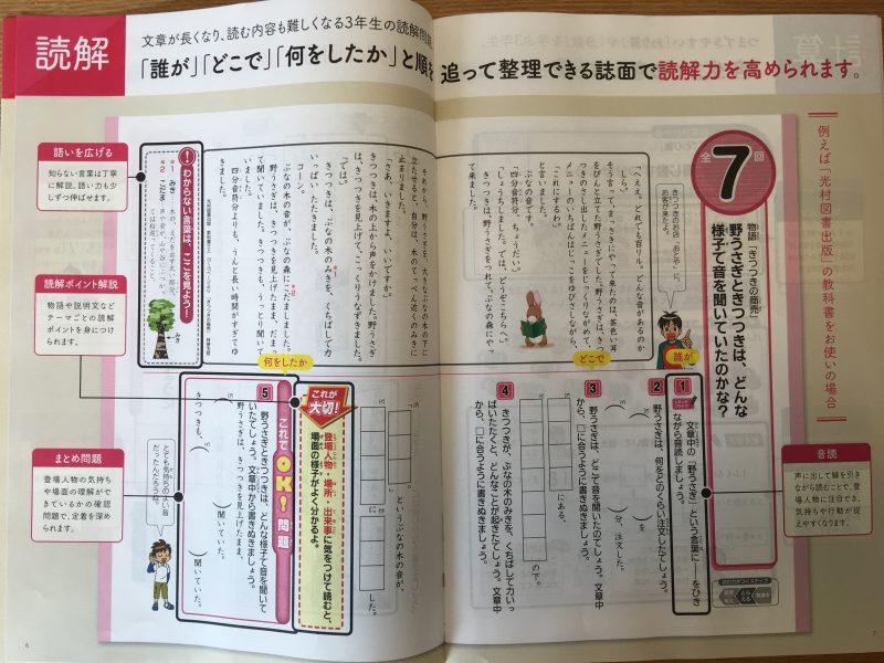 チャレンジ3年生国語の見本