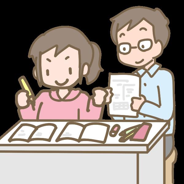 勉強する女の子と先生