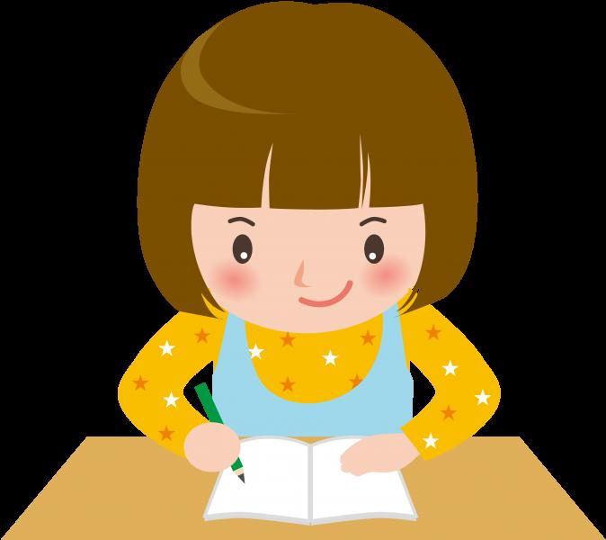 勉強をがんばる女の子