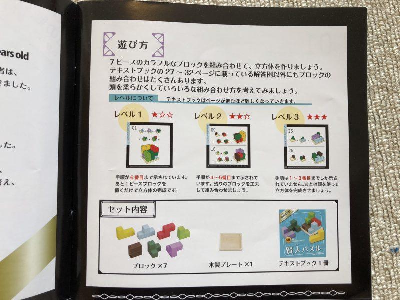 『賢人パズル』テキストブック「遊び方」のページ